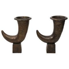 Pair of Kelly Wearstler Bronze Cornucopia Urns