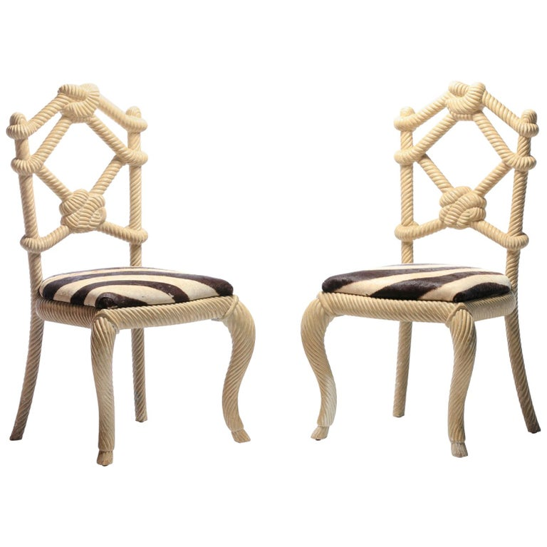Pair Of Kelly Wearstler Rope Chairs From Viceroy Miami With Zebra Hide Seats For