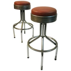 Pair Of KEM Weber Tubular Chrome Swivel Bar Stools