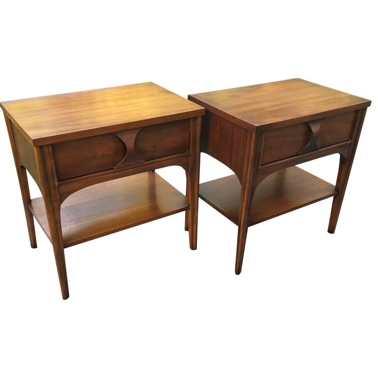 Pair of Kent Coffey Perspecta Walnut Side Table or Nightstands