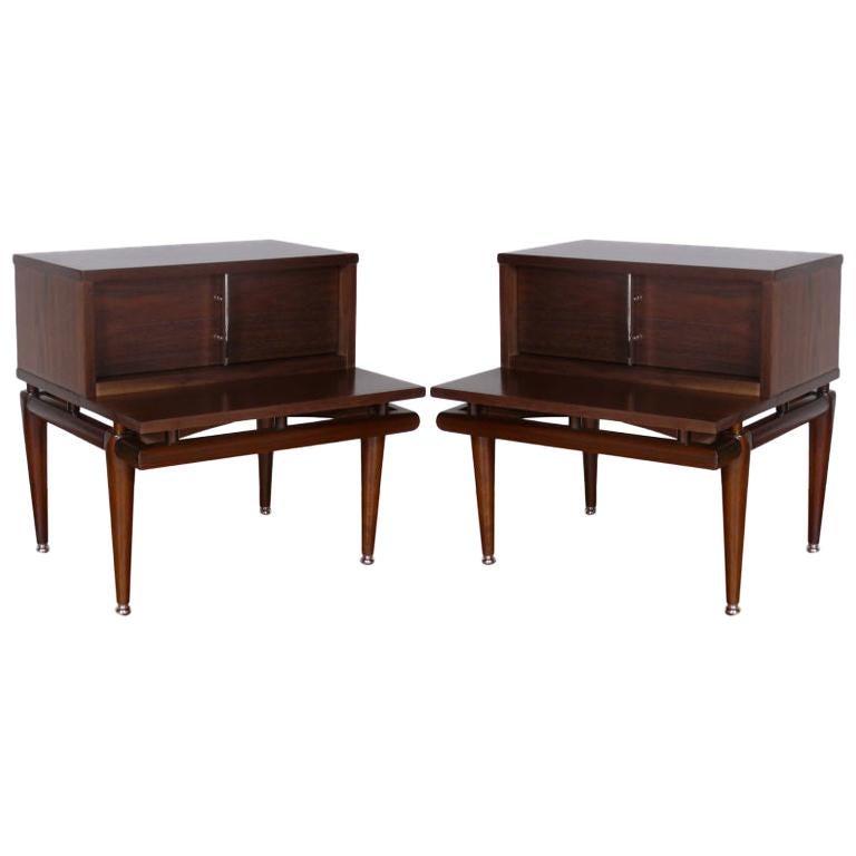 Pair of Mid Century Walnut  Side Tables