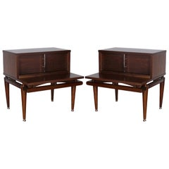 Pair of Mid Century Walnut  Side Tables