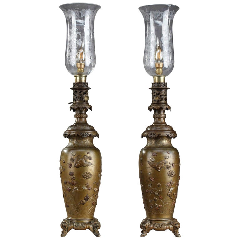 Pair Of Kerosene Lamps With Birds In Chinese Style