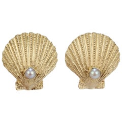 Pair of Kessler Brothers Scallop Sea Shell and Pearl 14 Karat Gold Cufflinks