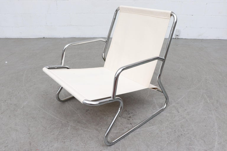 Pair of Kho Liang Ie Inspired Chrome and Canvas Upholstered Lounge Chairs 8