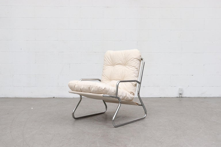 Mid-Century Modern Pair of Kho Liang Ie Inspired Chrome and Canvas Upholstered Lounge Chairs