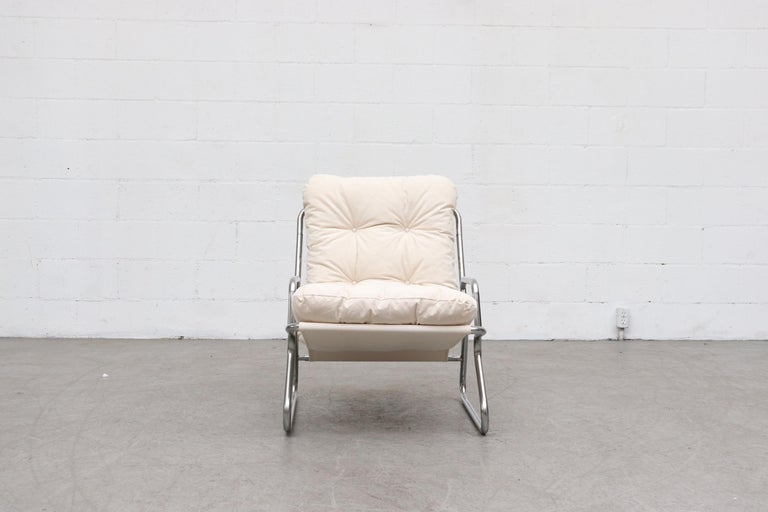 Dutch Pair of Kho Liang Ie Inspired Chrome and Canvas Upholstered Lounge Chairs