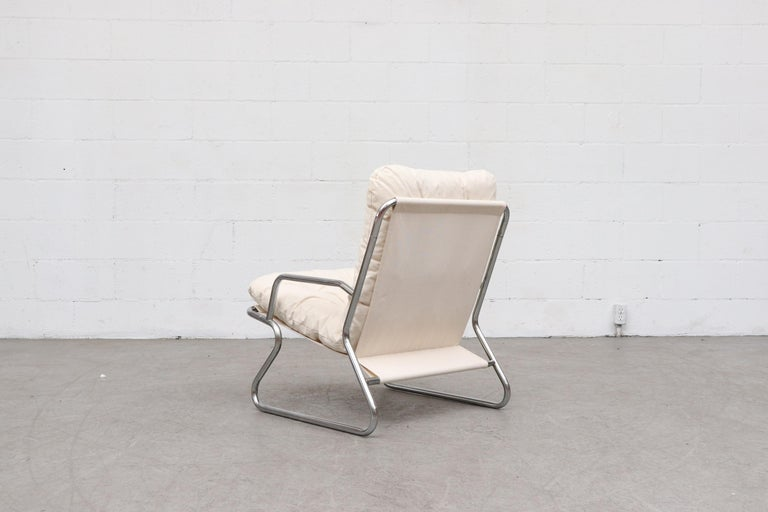 Late 20th Century Pair of Kho Liang Ie Inspired Chrome and Canvas Upholstered Lounge Chairs