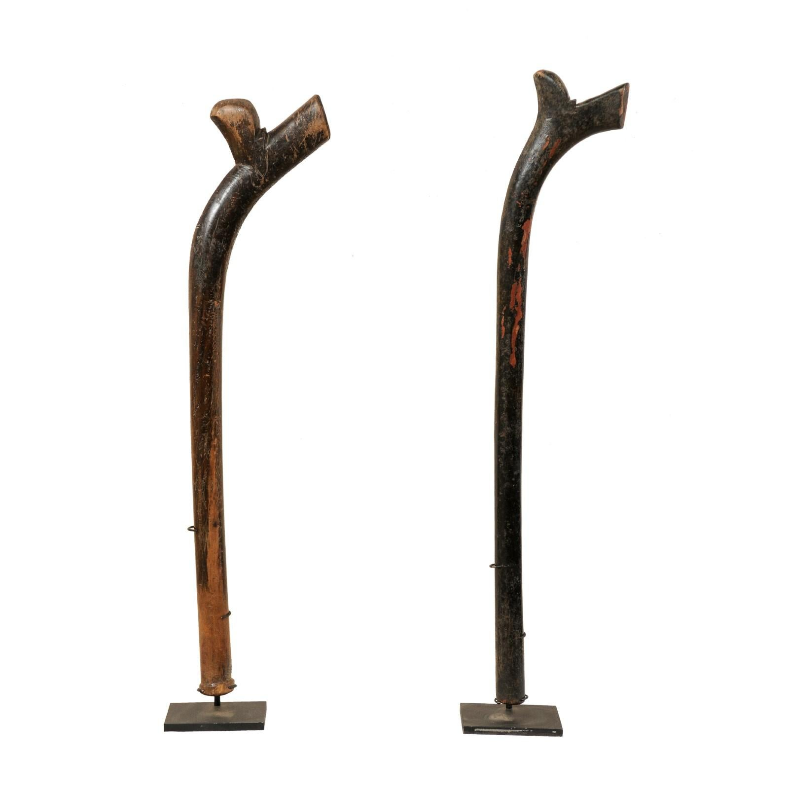Pair of Kiakavo Wooden Clubs from the Fiji Islands on Custom Stands