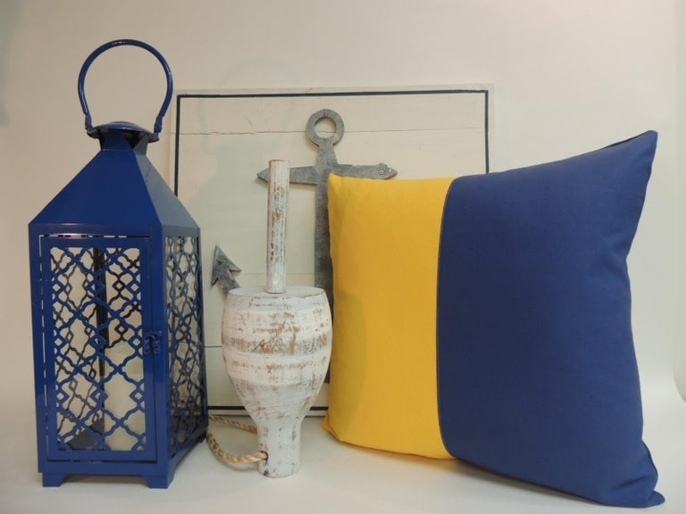 Yellow and blue nautical flag inspired square decorative pillows. Doubled sided, heavy cotton yellow and blue fabrics. Decorative pillows handcrafted and designed in the USA. Closure by stitch (no zipper closure) with custom made pillow