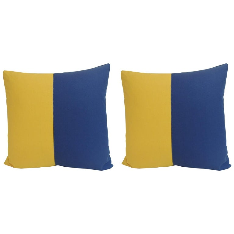 """Pair of """"Kilo"""" Yellow and Blue Nautical Flag Inspired Square Decorative Pillows For Sale"""