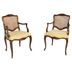 Kindel Regency Silk Arm Chairs Carved Wood Woven Cane  1960s Grand Rapids MI