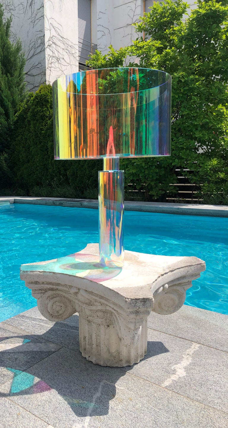 Plexiglass Pair of Kinetic Colors Table Lamps by Brajak Vitberg For Sale