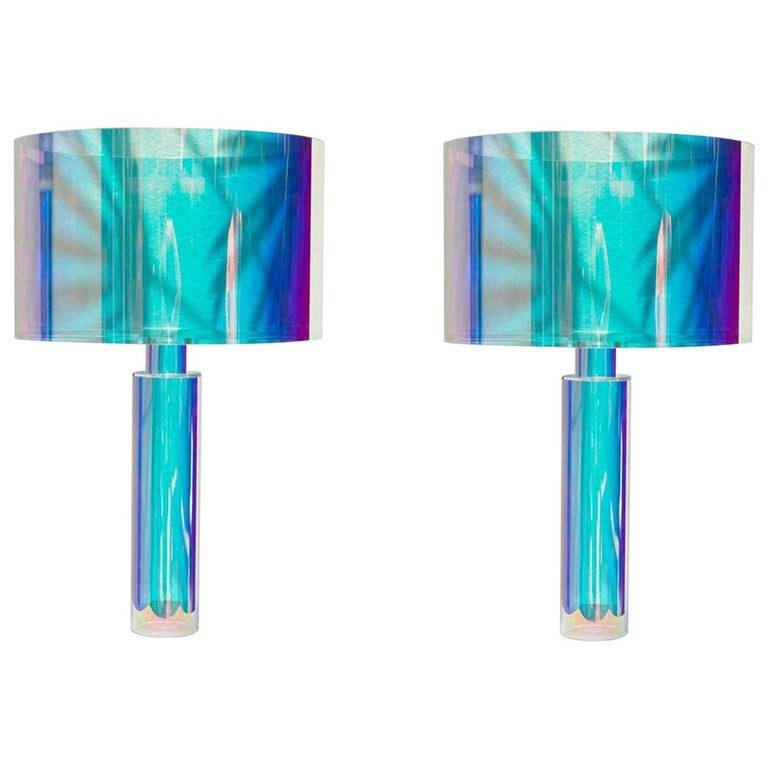 Pair of Kinetic Colors Table Lamps by Brajak Vitberg For Sale