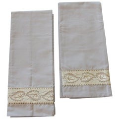 Pair of King Size Grey and Silver Antique Trim Pillow Cases