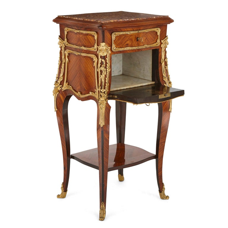 Louis XV Pair of Wood and Gilt Bronze Bedside Cabinets For Sale