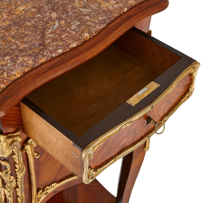 French Pair of Wood and Gilt Bronze Bedside Cabinets For Sale