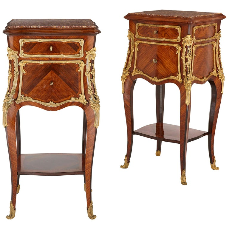 Pair of Wood and Gilt Bronze Bedside Cabinets For Sale