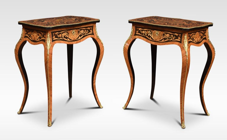 Pair of Kingwood and Marquetry Inlaid Side Tables For Sale 5