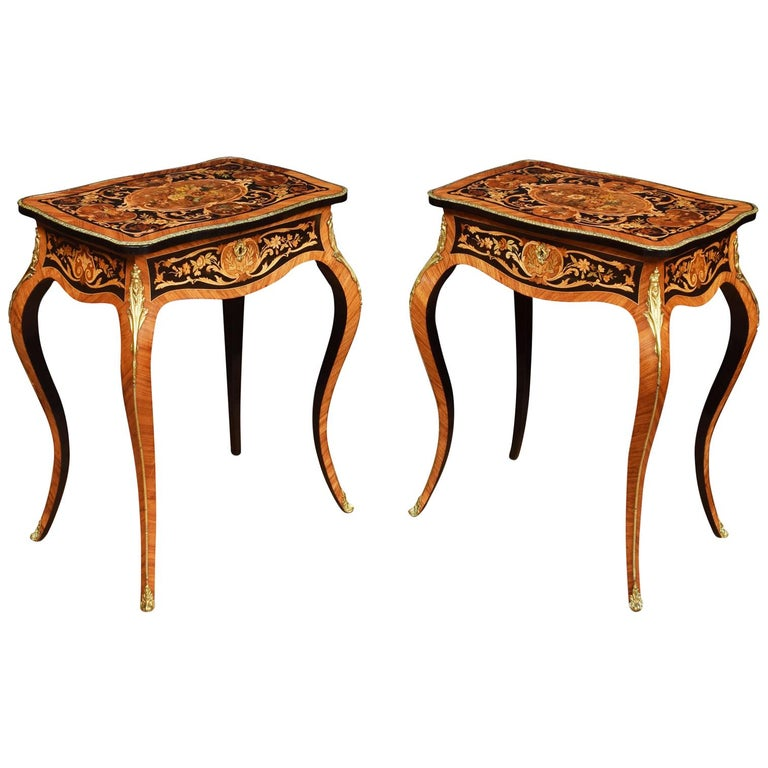 Pair of Kingwood and Marquetry Inlaid Side Tables For Sale
