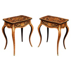 Pair of Kingwood and Marquetry Inlaid Side Tables