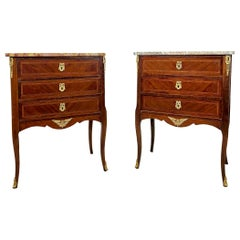 Pair of Kingwood and Ormolu-Mounted Marble-Top Commodes, French, circa 1900