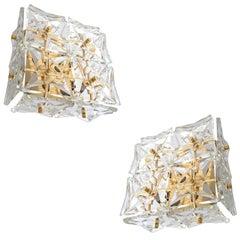 UNIQUE Pair Gilded Kinkeldey Sconces, 1960s Crystal