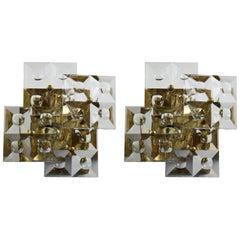 Pair of Kinkeldey Sconces Brass and Crystal, Germany, 1970s