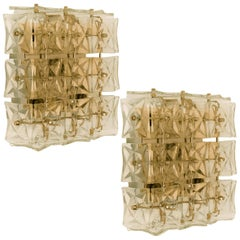 Pair of Kinkeldey Wall or Flush Mount Lights Sconces, Brass Crystal Glass, 1970
