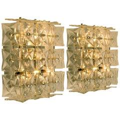 1 of 2 Pair of Kinkeldey Wall/ Mount Lights Sconces, Nickel Crystal Glass
