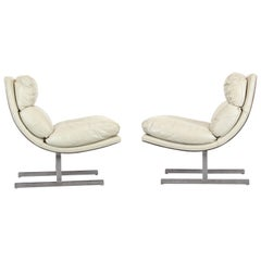 Pair of Kipp Stewart Stainless Steel Lounge Chairs for Directional, 1970s