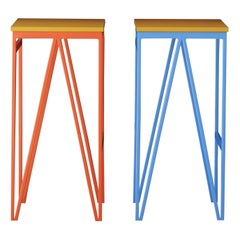 Pair of Kitchen Counter Tall Bar Stools, Color Play