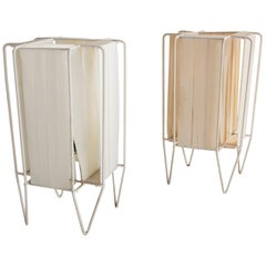 """Pair of """"Kite"""" Table Lamps with Metal Frames and Woven Shades, circa 1960s"""