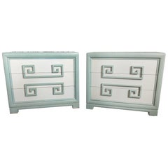 Pair of Kittinger Greek Key Three-Drawer Dressers