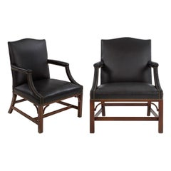 Pair of Kittinger Mahogany and Black Leather CW14 Open-Arm Chairs