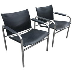 "Pair of ""Klinte"" Leather Easy Chairs by Tord Björklund, 1970s"