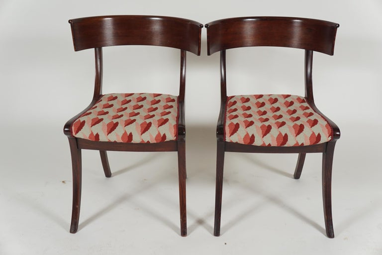 Regency Revival Pair of Klismos Chairs For Sale