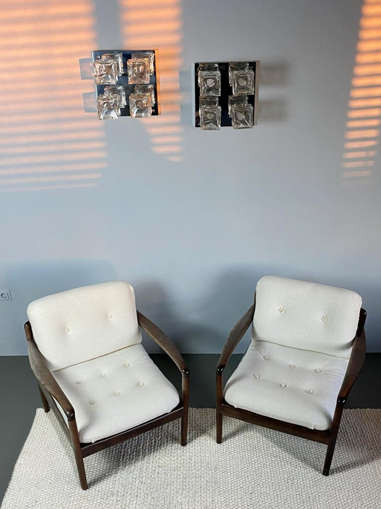 Mid-Century Modern Pair of Knoll Antimott Midcentury Shearling Fabric Lounge Chairs, 1960s, Germany For Sale