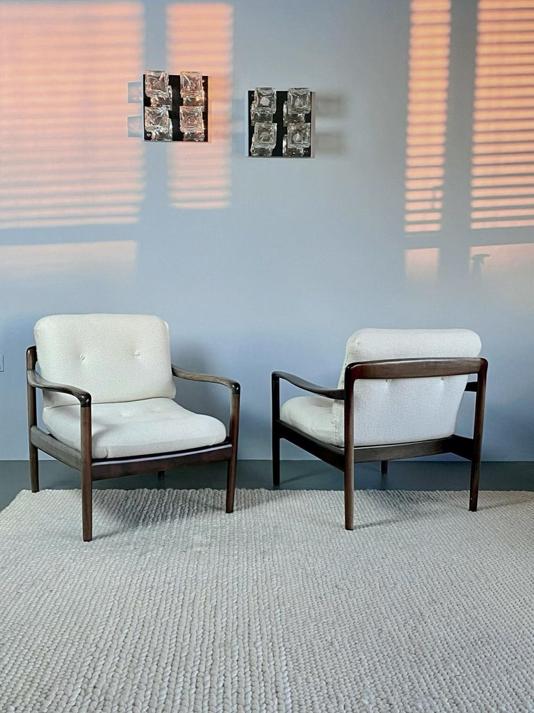 Patinated Pair of Knoll Antimott Midcentury Shearling Fabric Lounge Chairs, 1960s, Germany For Sale