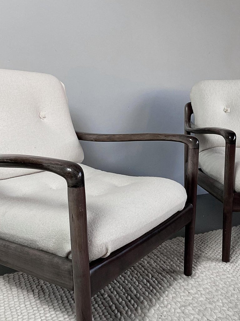 20th Century Pair of Knoll Antimott Midcentury Shearling Fabric Lounge Chairs, 1960s, Germany For Sale
