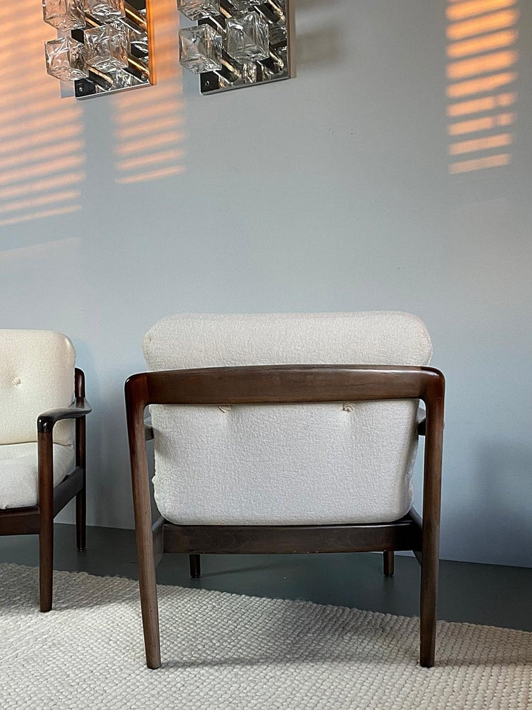 Pair of Knoll Antimott Midcentury Shearling Fabric Lounge Chairs, 1960s, Germany For Sale 1