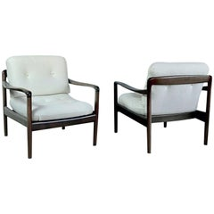 Pair of Knoll Antimott Midcentury Shearling Fabric Lounge Chairs, 1960s, Germany