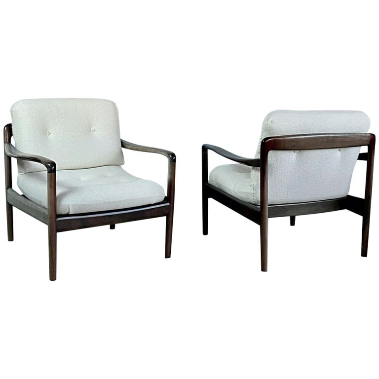 Pair of Knoll Antimott Midcentury Shearling Fabric Lounge Chairs, 1960s, Germany For Sale