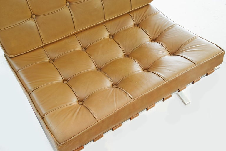 Pair of Knoll Barcelona Chairs Tan Leather 1960s Mies van der Rohe For Sale 1