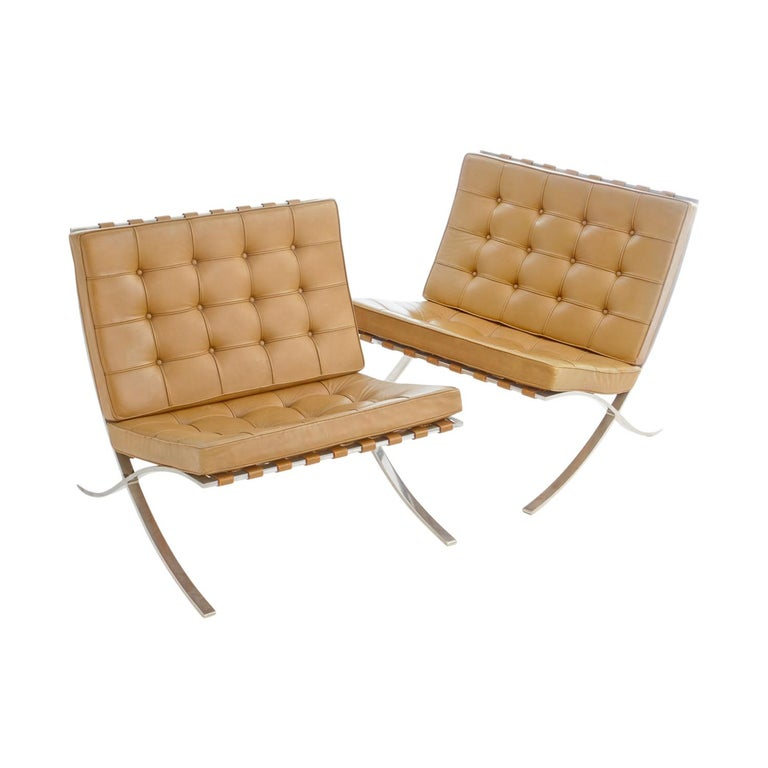 Pair of Knoll Barcelona Chairs Tan Leather 1960s Mies van der Rohe For Sale