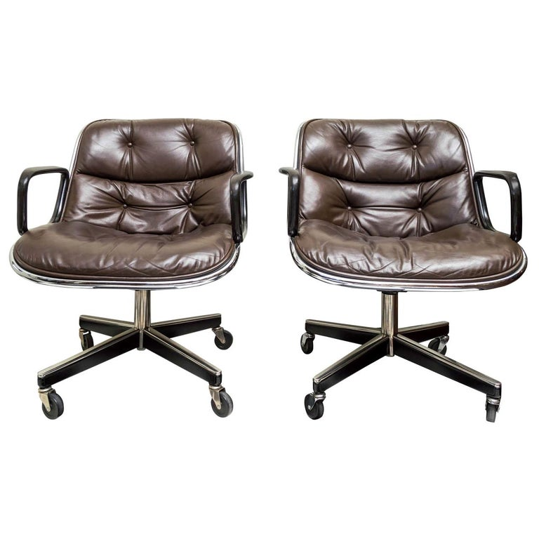 Pair of Knoll Black Leather Pollock Executive Armchairs