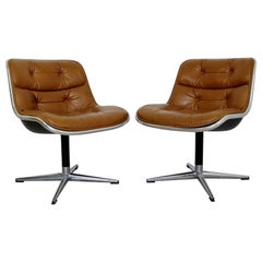 Pair of Knoll Charles Pollack Cognac Leather Rolling Chairs