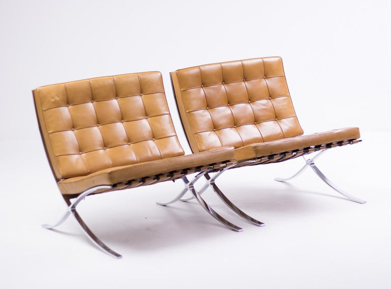 Pair of Knoll Cognac Leather Mies van der Rohe Split Frame Barcelona Chairs For Sale 6