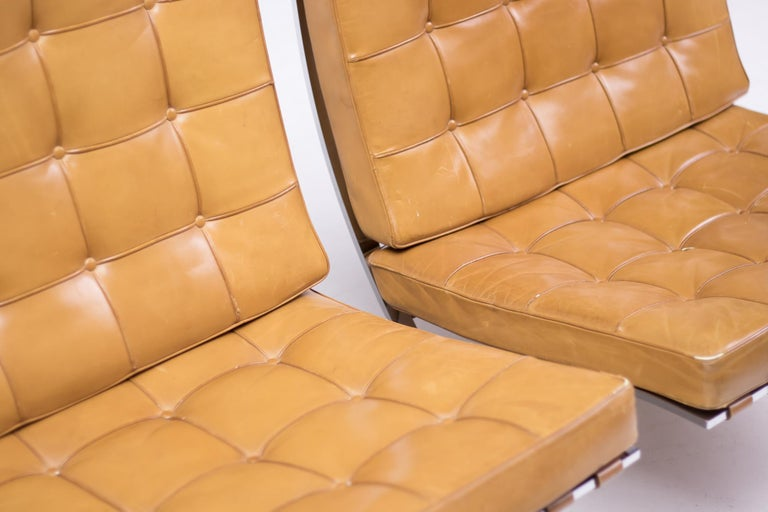 Mid-20th Century Pair of Knoll Cognac Leather Mies van der Rohe Split Frame Barcelona Chairs For Sale