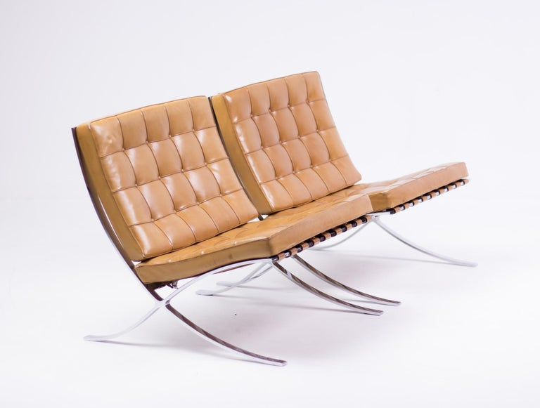 Stainless Steel Pair of Knoll Cognac Leather Mies van der Rohe Split Frame Barcelona Chairs For Sale